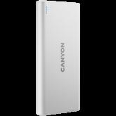 CANYON PB-106 Power bank 10000mAh Li-poly battery, Input 5V/2A, Output 5V/2.1A(Max), USB cable length 0.3m, 140*68*16mm, 0.24Kg, White