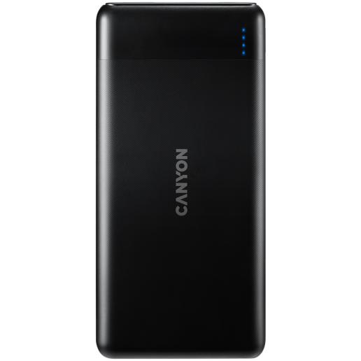CANYON PB-107 Power bank 10000mAh Li-poly battery, Input Micro/PD 18W(Max), Output PD/QC3.0 18W(Max), quick charging cable 0.3m, 144*68*16mm, 0.25kg, Black