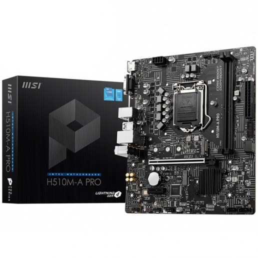 MSI H510M-A PRO,mATX,Socket 1200,Intel® H510 Chipset,Dual Channel DDR4 3200(MAX) MHz,1x PCIe x16 slot,1x HDMI 2.0b,1x VGA port,1x M.2 slot,2xUSB 3.2 Gen 1,2xUSB 2.0,Audio - 7.1,1Gbps LAN