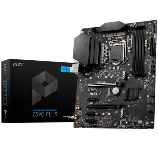 MSI Z590 PLUS, ATX, Socket 1200, Dual Channel DDR4 5333(OC)MHz, 2x PCIe x16 slots, 2x M.2 slots, 1x HDMI, 1x DP, 5x USB 3.2, 2x USB 2.0, Type-C, 7.1 HD Audio, 2.5Gbps LAN