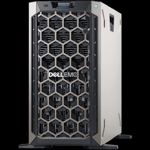 PE T340,8x3.5 chassis ho-plug HDD,Xeon E-2134 3.5GHz 4C/8T,Bezel,2x16GB 2666MT/s ECC UDIMM,idrac9 ENT,2x1.2TB HDD 2.5in 3.5 HYB carrier,PERC H730P 2GB NV cache,(1+1)495W PSU hot-plug,no ODD,TPM 2.0,DualPort 1Gbe LOM,3Y NBD