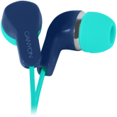 CANYON Stereo Earphones with inline microphone, Green+Blue
