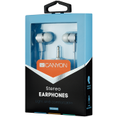 CANYON Stereo earphones with microphone, White