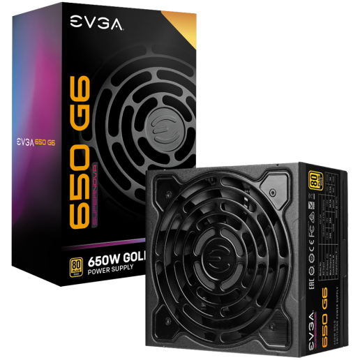 EVGA SuperNOVA 650 G6, 80 Plus GOLD 650W, Fully Modular, ECO Mode with FDB Fan, Includes Power ON Self Tester, Compact 140mm Size, 10 Year Warranty