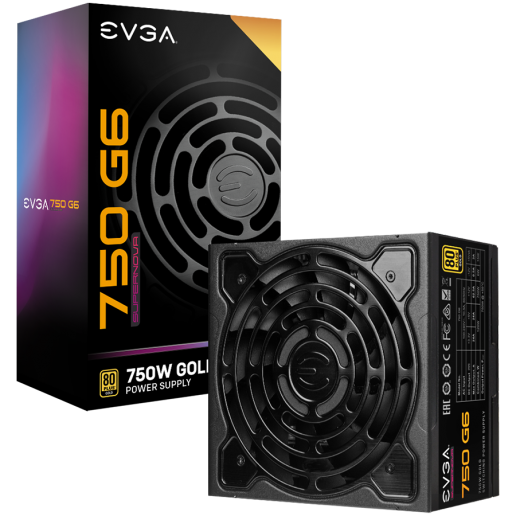 EVGA SuperNOVA 750 G6, 80 Plus GOLD 750W, Fully Modular, ECO Mode with FDB Fan, Includes Power ON Self Tester, Compact 140mm Size, 10 Year Warranty