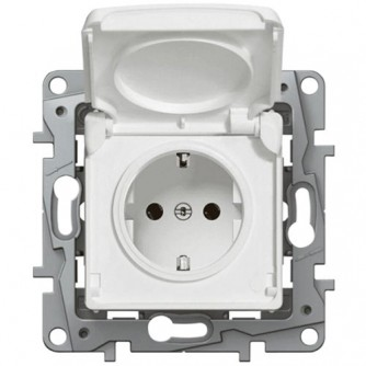 2P+E German standard socket outlet Niloé -with shut. -IP44 + flap -automatic terminals -white.To be equipped with standard plates.Fixing with screws or claws (supplied).