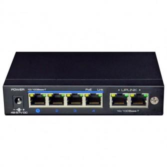 4-port PoE Switch 10/100, 1 Uplink port, CCTV standard - 10Mbps (up to 250 m), MDI/MDIX, 26W per port.