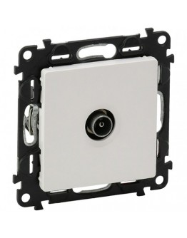 Male TV star socket Valena Life-attenuation 1 dB-with cover plate - white. For DVBT, Cablecast and satellite installation UHD TV compatible.Class A shielded star socket LTE Ready (4G protected) Recommended coaxial cable: 17 VATC.