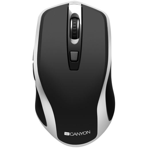 2.4GHz Wireless Rechargeable Mouse with Pixart sensor, 6keys, Silent switch for right/left keys,DPI: 800/1200/1600, Max. usage 50 hours for one time full charged, 300mAh Li-poly battery, Black -Silver, cable length 0.6m, 121*70*39mm, 0.103kg