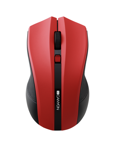 CANYON 2.4GHz wireless Optical Mouse with 4 buttons, DPI 800/1200/1600, Red, 122*69*40mm, 0.067kg