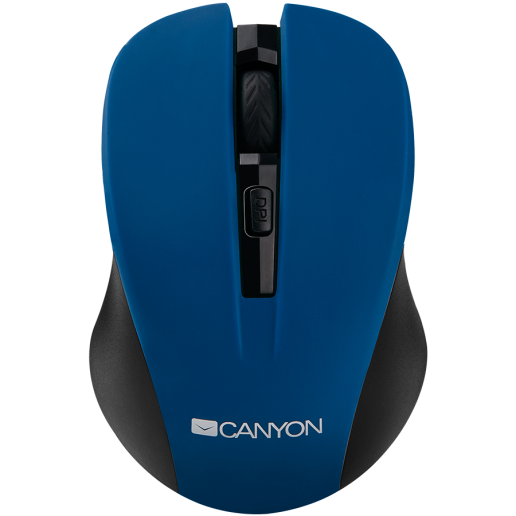CANYON 2.4GHz wireless optical mouse with 4 buttons, DPI 800/1200/1600, Blue, 103.5*69.5*35mm, 0.06kg