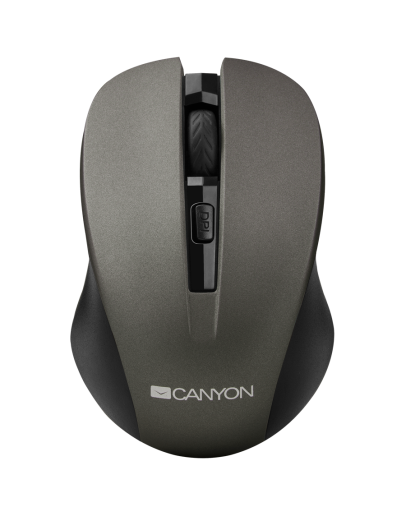 CANYON 2.4GHz wireless optical mouse with 4 buttons, DPI 800/1200/1600, Gray, 103.5*69.5*35mm, 0.06kg