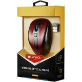 CANYON 2.4GHz wireless optical mouse with 6 buttons, DPI 800/1200/1600, Red, 92*55*35mm, 0.054kg