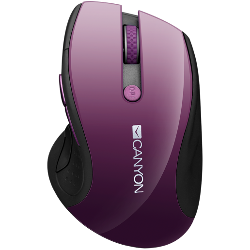 CANYON 2.4Ghz wireless mouse, optical tracking - blue LED, 6 buttons, DPI 1000/1200/1600, Purple pearl glossy