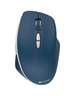 Canyon  2.4 GHz  Wireless mouse ,with 7 buttons, DPI 800/1200/1600, Battery: AAA*2pcs,Blue,72*117*41mm, 0.075kg