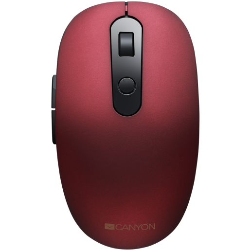 Canyon 2 in 1 Wireless optical mouse with 6 buttons, DPI 800/1000/1200/1500, 2 mode(BT/ 2.4GHz), Battery AA*1pcs, Red, silent switch for right/left keys, 65.4*112.25*32.3mm, 0.092kg