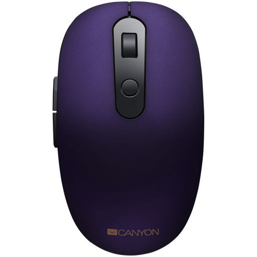 Canyon 2 in 1 Wireless optical mouse with 6 buttons, DPI 800/1000/1200/1500, 2 mode(BT/ 2.4GHz), Battery AA*1pcs, Violet, silent switch for right/left keys, 65.4*112.25*32.3mm, 0.092kg