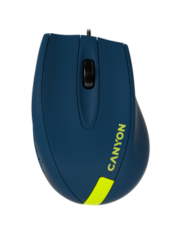 Wired Optical Mouse with 3 keys, DPI  1000 With 1.5M USB cable,Blue-Yellow ,size 68*110*38mm,weight:0.072kg