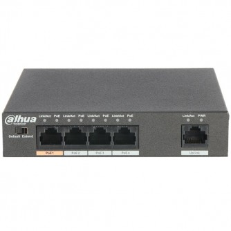 4-Port PoE Switch 10/100 Mbps (Unmanaged), 1 Uplink port, transmission distance of power and data up to 250m (extended mode).