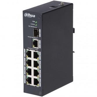 8-port PoE Switch 10/100, 1 Uplink port 10/100/1000, 1 fiber optic port, max 30W per port (total 95W), lightning protection up to 2KV