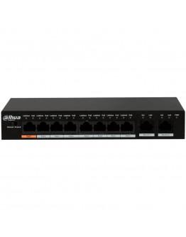Dahua 8-Port 10/100 PoE Switch + 2 Uplink Gigabit port, Port1≤60W, Port2-8≤30W, Total≤96W
