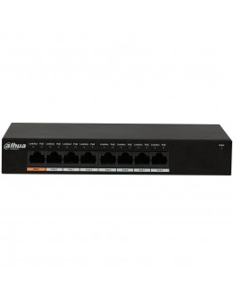 Dahua PoE 8-port Gigabit 10/100/1000, Layer 2 Switch, port 1 - 60W, port 2-8 - 30W, Total - 96 W, Switching Capacity 20GB/s, IEEE802.3af (PoE), IEEE802.3at (PoE+), Hi-PoE, DC48~57V power adapter