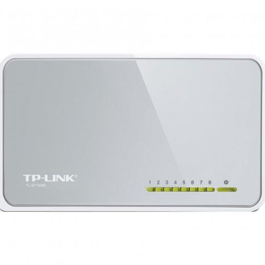 Switch TP-Link TL-SF1008D, 8-Port RJ45 10/100Mbps desktop switch, Fanless, LED indicator, Auto Negotiation/Auto MDI/MDIX, Plastic case