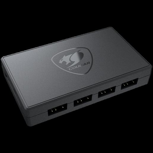 COUGAR CORE BOX V3, ARGB PWM Fan Controller, SATA (power supply) input connector, 12V(PWM) / 5V(ARGB) output voltage, Multiple Connectors: 6x PWM control, 6x ARGB lighting sync port, Compact Size & Magnetic Design, ARGB SYNC, 96 x 56 x 17 (mm), 50g