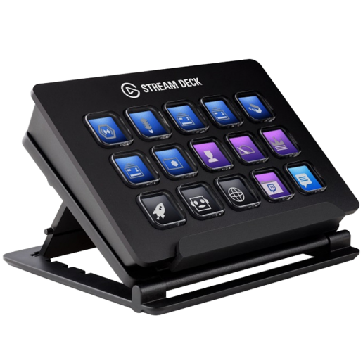 Elgato Stream Deck, 15 LCD keys, One-touch tactile operation, Elgato Game Capture, OBS, Twitch, Twitter, TipeeeStream, XSplit, YouTube, Mixer, and more, Automated alerts, Onscreen Antics w/ GIFs & others, Unique Key Configurations, Automated Plugins