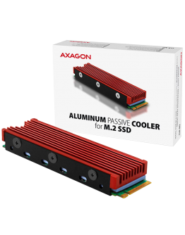 AXAGON CLR-M2 passive - M.2 SSD, 80mm SSD, ALU body, silicone thermal pads