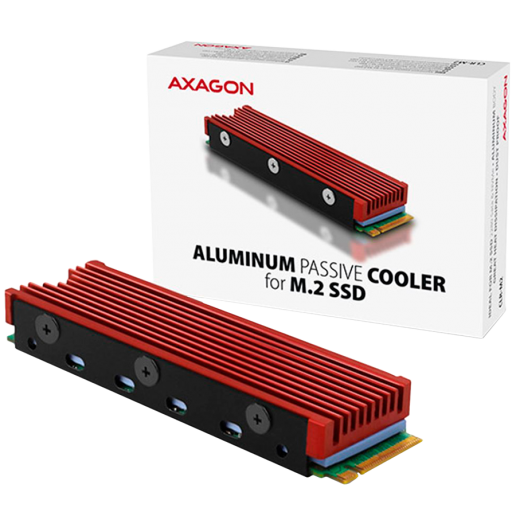 AXAGON CLR-M2 passive - M.2 SSD, 80mm SSD, ALU body, silicone thermal pads