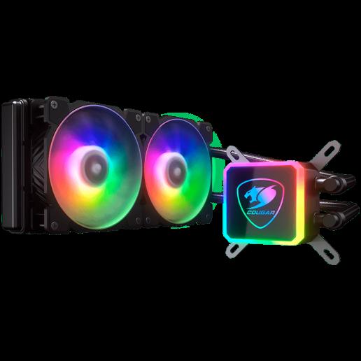 COUGAR AQUA 240, ARGB, Intel Socket LGA 775 / 1150 / 1151 / 1155 / 1156 / 1366 / 1200 / 2011 / 2066 (Core i3 / i5 / i7 / i9 CPU) AMD TR4 / AM4 / FM2 / FM1 / AM3+ / AM3 / AM2+ / AM2 CPU, Dimensions (WxDxH): 274 x 120 x 27mm