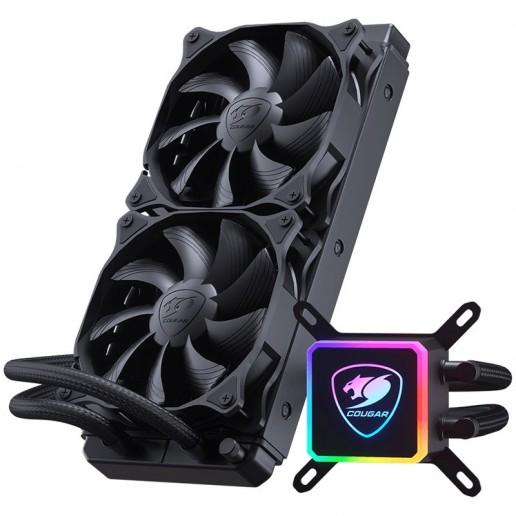 COUGAR AQUA 240mm, Intel LGA 775/ 1155/ 1156/ 1151/ 1366 2011(Core i3/i5/i7 CPU)/ 2066, AMD: AM4/FM2/FM1/AM3+/AM3/AM2+AM2 CPU,Pump Speed: 3200 ± 10% R.P.M, MB RGB Synchronization, Dimensions (WxDxH): 274x120x27mm
