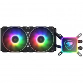 COUGAR AQUA 280, Intel Socket LGA 775 / 1150 / 1151 / 1155 / 1156 / 1366 / 1200 / 2011 / 2066 (Core i3 / i5 / i7 / i9 CPU) AMD TR4 / AM4 / FM2 / FM1 / AM3+ / AM3 /, ARGB Dimensions (WxDxH): 310x140x27mm