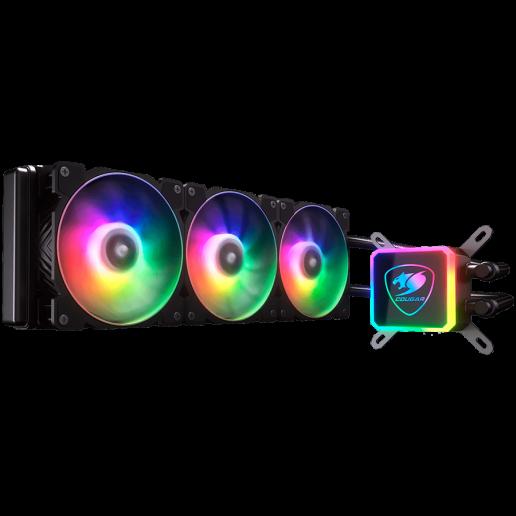 COUGAR AQUA 360 ARGB , Intel Socket LGA 775 / 1150 / 1151 / 1155 / 1156 / 1366 / 1200 / 2011 / 2066 (Core i3 / i5 / i7 / i9 CPU) AMD TR4 / AM4 / FM2 / FM1 / AM3+ / AM3 / AM2+ / AM2 CPU, Dimensions (WxDxH) 394 x 120 x 27mm