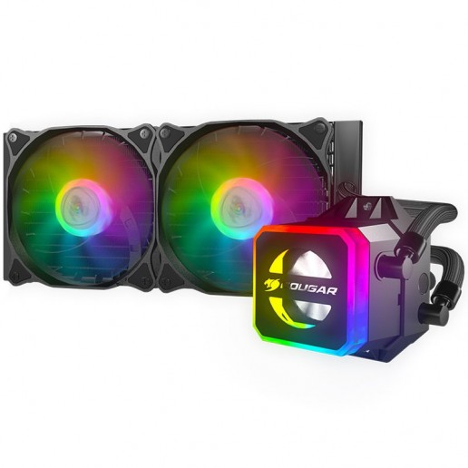 COUGAR Helor 240 Liquid Cooling,Copper with Nickel Plating,Pump Speed 2700 ± 10% R.P.M, Aluminum material, 12 Addressable RGB LEDs (5V), Radiator Type 240mm,Fan ModelVortex Omega 120,Fan Quantity 2,Hydro-Dynamic Bearing