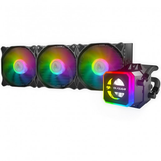 COUGAR Helor 360Liquid Cooling,Copper with Nickel Plating,Pump Speed 2700 ± 10% R.P.M, Aluminum material, 12 Addressable RGB LEDs (5V), Radiator Type 360mm,Fan Model	Vortex Omega 120,Fan Quantity 3,Hydro-Dynamic Bearing