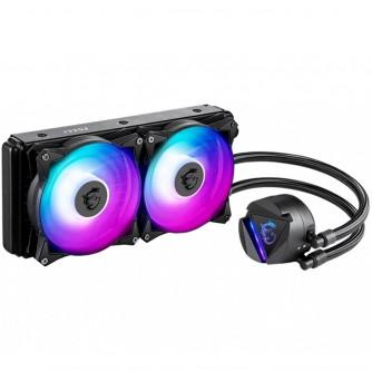 MSI MAG CORELIQUID 240R, AIO ARGB CPU Liquid Cooler, 240mm Radiator - Dual 120mm ARGB PWM Fans, Intel 1150/1151/1155/1156/1200/1366/2011/2011-3/2066; AMD AM4/FM2+/FM2/FM1/AM3+/AM3/AM2+/AM2 500~2000 RPM, 274 x 120 x 27mm, Aluminum Radiator