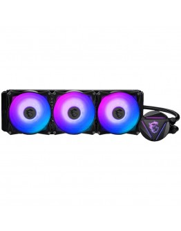 MSI MAG CORELIQUID 360R, AIO RGB CPU Liquid Cooler, 360mm Radiator - Triple 120mm RGB PWM Fans, Intel 1150/1151/1155/1156/1200/1366/2011/2011-3/2066; AMD AM4/FM2+/FM2/FM1/AM3+/AM3/AM2+/AM2/TR4/sTRX4/SP3, 500~2000 RPM, 394x120x27mm, Aluminum Radiator