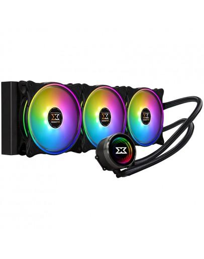 Xigmatek Aurora AIO Liquid Cooler 360mm ARGB MB SYNC EN42814; Intel: LGA 2066/2011-v3/2011/1366/115x; AMD: TR4/AM4/AM3+/AM3/AM2+/AM2/FM2+/FM2/FM1; 3x120mm AT120 Rainbow Fan