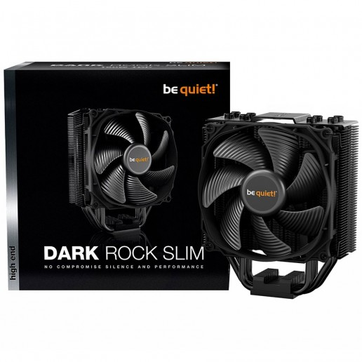 be quiet! Dark Rock Slim CPU cooler, Intel LGA1150/1151/1155/1156/1366 /2011(-3) Square ILM/2066 AMD FM2+/AM3+/AM4/FM1, 1x Silent Wings 3 120mm PWM, TDP (W): 180, max noise 23.6 dBA, 72x127x159.4 mm