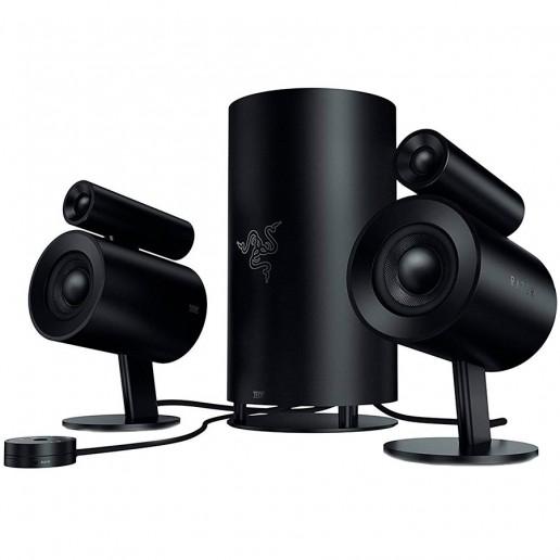 Razer Nommo Pro, THX Certified full range 2.1 gaming speakers, Dolby Virtual Surround Sound technology, Razer Chroma, 2 x 0.8 inch silk dome tweeters, 2 x 3 inch full range drivers,Frequency response: 35 - 20,000hz, USB, Optical, 3.5mm