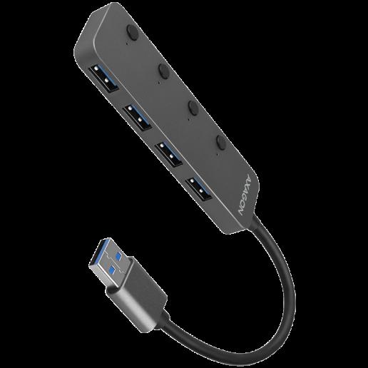 AXAGON HUE-MSA 4x USB3.2 Gen 1 SWITCH hub, metal, micro USB power IN, 20cm USB-A cable