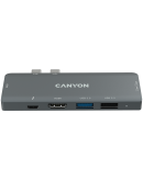 Canyon DS-05B Multiport Docking Station with 7 port, 1*Type C PD100W+2*HDMI+1*USB3.0+1*USB2.0+1*SD+1*TF. Input 100-240V, Output USB-C PD100W&USB-A 5V/1A, Aluminum alloy, Space gray, 104*42*11mm, 0.046kg(Generation B)
