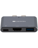 Canyon Multiport Docking Station with 3 port, with Thunderbolt 3 Dual type C male port, 1*Thunderbolt 3 female+1*HDMI+1*USB3.0. Input 100-240V, Output USB-C PD100W&USB-A 5V/1A, Aluminium alloy, Space gray, 59*35.5*10mm, 0.028kg