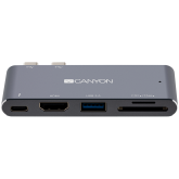 Canyon Multiport Docking Station with 5 port, with Thunderbolt 3 Dual type C male port, 1*Thunderbolt 3 female+1*HDMI+1*USB3.0+1*SD+1*TF. Input 100-240V, Output USB-C PD100W&USB-A 5V/1A, Aluminium alloy, Space gray, 90*41*11mm, 0.04kg