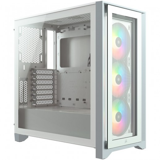 CORSAIR iCUE 4000X RGB Tempered Glass Mid-Tower ATX Case — White