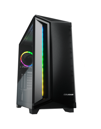 COUGAR Dark Blader X7 Black, Mid-Tower, Mini ITX/Micro ATX/ATX/CEB/E-ATX, 220x486x468(mm), USB 3.0 x 2, USB 2.0 x 1, Mic x1/Audio x1, RGB Button, Transparent Left Panel, ARGB VK120 Rear fan x 1 pre-installed, Onboard Lighting System, RGB Sync. w/ M/B