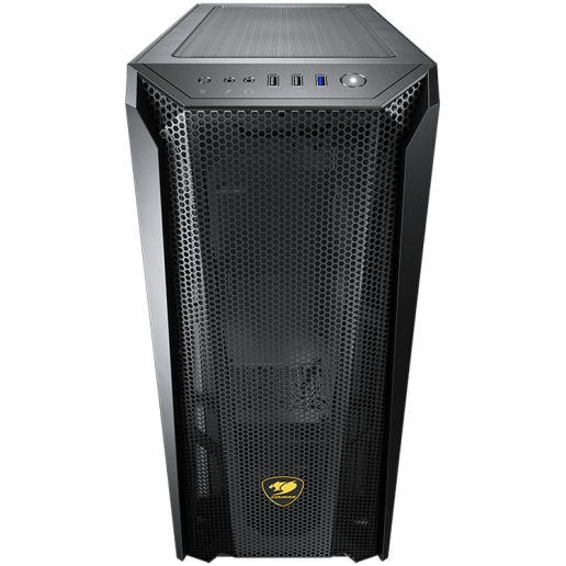 COUGAR MX660 Mesh, Mid-Tower, Mini ITX / Micro ATX / ATX / CEB / E-ATX, 213x495x474(mm), USB3.0 x 1, USB2.0 x 2, Mic x 1 / Audio x 1, Reset Button, 4mm Tempered Glass Left Panel, Mesh Front Panel, 120mm Rear Black Fan x 1 pre-installed, 8 Fans Max.