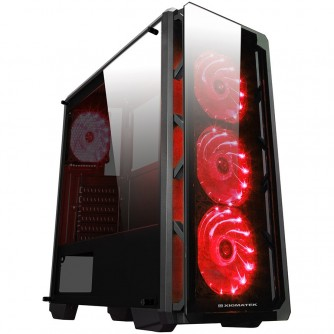 Chassis ASTRO EN40858 TEMPERED DESIGN (Three sides tempered glass), ATX, Mini ITX, Micro ATX, USB 3.0x1, USB 2.0x2 ; HD Audio in/out jacks, Pre-install 4x120mm LED Red Fans, CPU Cooler up to 158mm, VGA up to 360mm